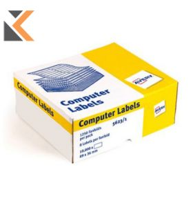 AVERY 5623-1 WHITE COMPUTER LABELS 1/10'' VERTICAL SPACING - BOX OF 1000 - [89X37MM]