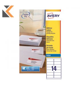 Avery J8160-25 Labels, 21 Labels Per Sheet, 63.5 x 38.1 mm - [525 Labels Per Pack]