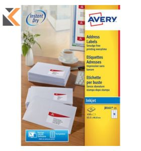 AVERY J8161-25 QUICK DRY INKJET WHITE ADDRESSING LABELS 63.5X46.6MM - [BOX OF 25]