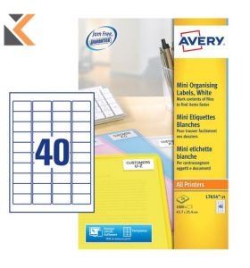 Avery J8654-25 Labels, 40 Labels Per Sheet, 1000 Labels Per Pack - [45.7 x 25.4 mm]