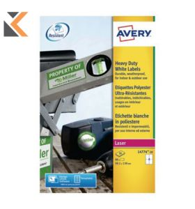 Avery L4774-20 Resistant Labels, 4 Labels Per Sheet - [99.1 x 139 mm]