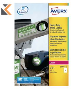 Avery L4775-20 Resistant Labels, 1 Labels Per Sheet - [210 x 297 mm]