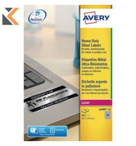 Avery L6009-20 Resistant Labels, 48 Labels Per Sheet - [45.7 x 21.1 mm]