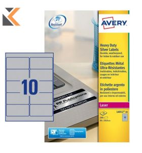 Avery L6012-20 Resistant Labels, 10 Labels Per Sheet - [96 x 50.8 mm]