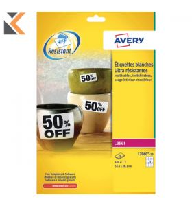 Avery L7060-20 Resistant Labels, 21 Labels Per Sheet - [63.5 x 38.1 mm]