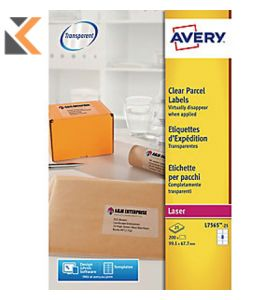 AVERY L7565-25 QUICKPEEL CLEAR LASER ADDRESSING LABELS - BOX OF 25 - [99.1 X 67.7MM]