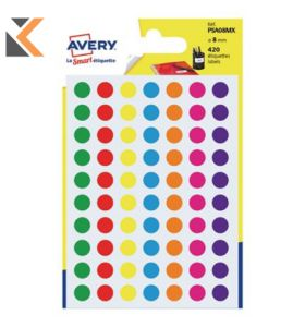 Avery PSA08MX x Dot Label Dia8mm Assorted  - [Pk420]