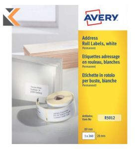 Avery R5012 Labels, 260 Labels Per Sheet, 260 Labels Per Pack - [89 x 28 mm]