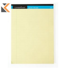 Cambridge Everyday Legal A4 Pad Ruled with Margin 100 Pages Yellow - [Pack of 10]