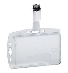 Durable Acrylic Security Pass Holder 54X90mm Transparent - [Pack of 40]