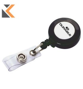 Durable Badge Reel Charcoal With Retractable Cord And Clip - [Pack of 10]