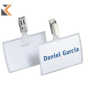Durable Click Fold Name Badge With Clip Pack of 25 Transparent - [54X90mm]