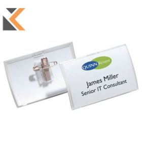 Durable Click Fold Name Badge With Combi Clip Pack of 25 Transparent - [54X90mm]