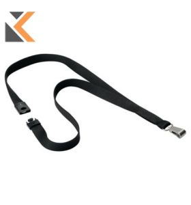 Durable Textile Lanyard Black - [Pack of 10]