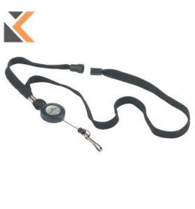 Durable Textile Lanyard Black With Badge Reel - [Pack of 10]