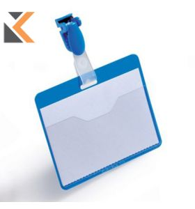 Durable Visitor Badges 60 X 90mm Plastic Clip - Blue - [Box of 25]