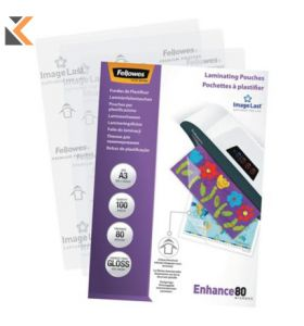 Fellowes-A3 Laminating Pouches Gloss 160 Microns [2 X 80] - Pack of 100