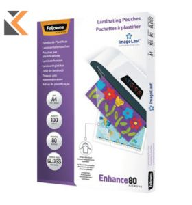 Fellowes-A4 Laminating Pouches Gloss 160 Microns [2 X 80] - Pack of 100