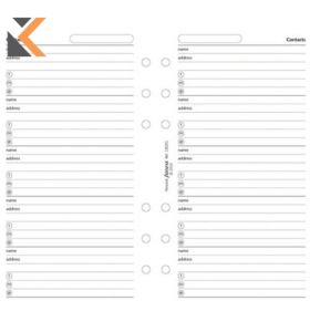Filofax Personal Desk Organiser Refill Inserts - [Name And Address Sheets]