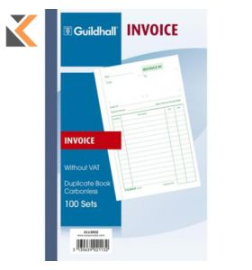 Guildhall Duplicate Invoice Book, 100 Sets, Cloth Tape Binding - [210X135mm]