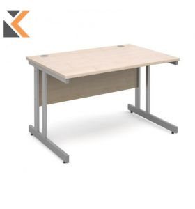 Momento Straight Desk [1200mm X 800mm] - Silver Cantilever Frame, Beech Top