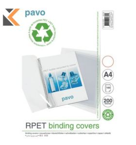 Pavo Clear A4 Recycled Polypropylene Report Covers 200 Micron - [Pack of 100]