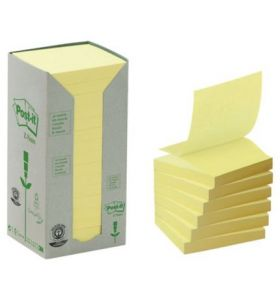 Post-It 100% Recycled Z Notes Yellow Pack of 16 Pads - [76 X 76mm]
