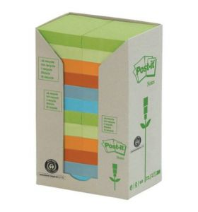 Post-It Recycled Notes Tower of 24 Pads Pastel Colours - [38X51mm]