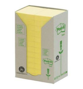 Post-It Recycled Notes Tower of 24 Pads Yellow - [38X51mm]