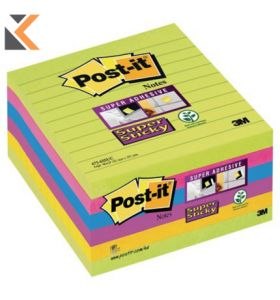 Post-It Super Sticky Notes Lined Ultra Asst Pack Of 6 - [100x100mm]