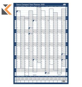 SASCO UNMOUNTED COMPACT PORTRAIT YEAR PLANNER - [405 X 610MM]