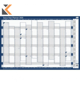 SASCO UNMOUNTED VERTICAL YEAR PLANNER - [915 X 610MM]