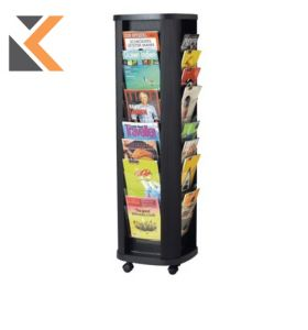 Mobile Literature Carousel Stand - 40 Compartments For Documents A4