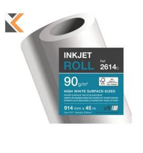 Clairefontaine-Bright Inkjet White  Paper Plotter Rolls - [90Gsm 45Mx914Mm - Bx Of 6]