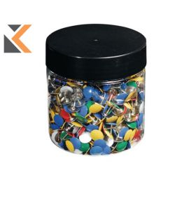 Exacompta Drawing Pins, 9mm Height, 9mm Round - Assorted Colours - [Box of 1000]