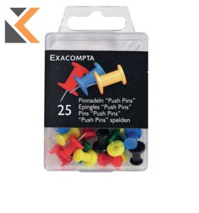 Exacompta Push Pins 10mm Round, 7mm Height,  - Assorted Colours - [Box of 25]