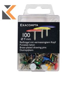 Exacompta Drawing Pins, 9mm Height  Brass, 9.5mm Round - [Box of 750]