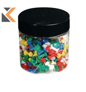 Exacompta Push Pins, 7mm Height, 10mm Round - Assorted Colours, - [Box of 200]