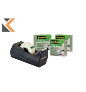 Scotch Magic Tape-C38 Desk Dispenser Black +Scotch Magic Tape - [1 Roll]