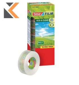 Tesa Eco Clear Tape 19mmx33M - Pack of 8 [Includes 1 Free Roll]