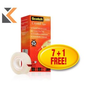 Scotch Crystal Tape 19mmx33M - Pack of 8 - [Includes 1 Free Roll]