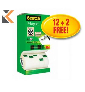 Scotch Magic Tape Tower Pack 19mm X 33M - Pack of 14 - [Pay For 12 Get 2 Free]