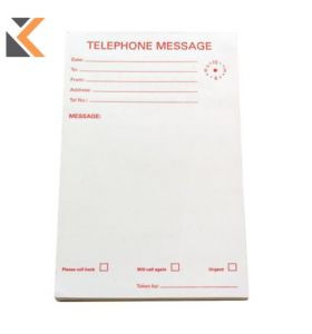Telephone Message Pads 127 X 203mm - 10 X 80 Sheets [Pack of 10 Pads]