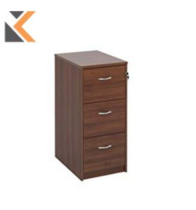 Deluxe 3-Drawer Filing Cabinet With Silver Handles [1045mm] High - Walnut