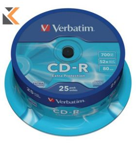 Verbatim CD-R Printable 80 Minute 700Mb - [Spindle of 25]
