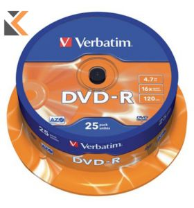 Verbatim DVD-R 4.7Gb 120Min - [Spindle of 25]