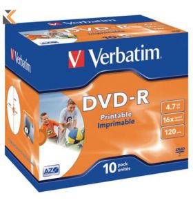 Verbatim DVD-R Printable Jewel Case - [Bx10]